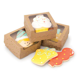 Sweet Sugarbelle Cookie Boxes: Kraft with Gold Dots | www.bakerspartyshop.com