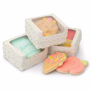 Sweet Sugarbelle Cookie Boxes: White with Gold Dots | www.bakerspartyshop.com