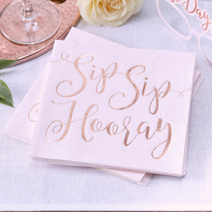 Blush Light Pink Napkins: Sip Sip Hooray | www.bakerspartyshop.com