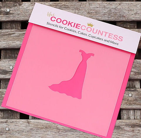 Slim Wedding Dress Cookie Stencil | www.bakerspartyshop.com