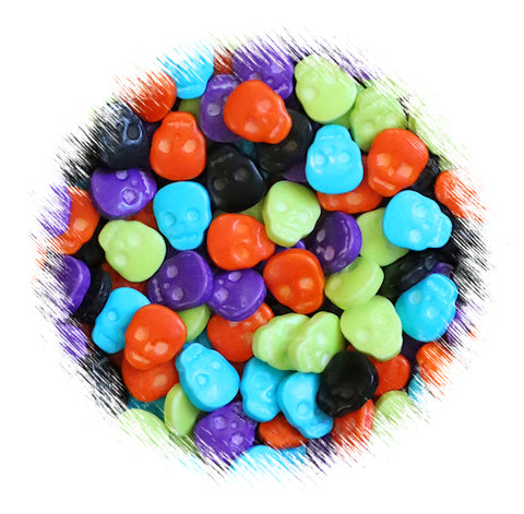 Colored Skull Candy Toppings | www.bakerspartyshop.com
