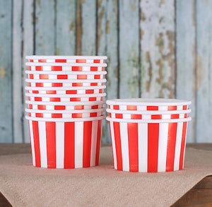 Small Red Ice Cream Cups: Stripe | www.bakerspartyshop.com