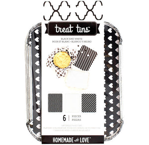 Small Black and White Treat Tins | www.bakerspartyshop.com