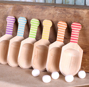 Small Wooden Candy Scoops - Boys Rainbow Stripes (set of 6) | www.bakerspartyshop.com