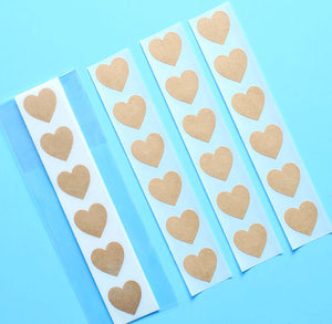 Brown Heart Stickers: .75"