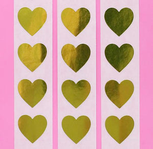 Gold Heart Stickers: .75"
