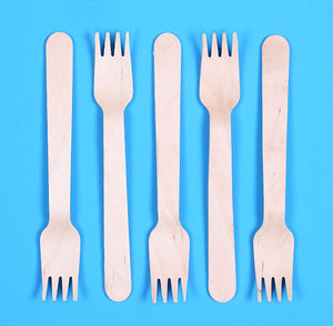 "Disposable Small Wooden Forks (5.5"") 