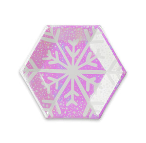 Iridescent Snowflake Plates | www.bakerspartyshop.com