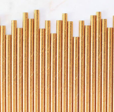 Gold Foil Paper Straws: Solid | www.bakerspartyshop.com