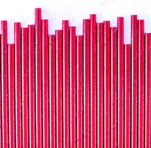 Hot Pink Foil Paper Straws: Solid | www.bakerspartyshop.com