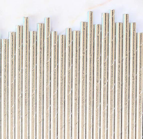 Silver Foil Paper Straws: Solid | www.bakerspartyshop.com