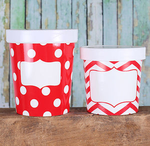 Small Ice Cream Containers: Red Chevron | www.bakerspartyshop.com