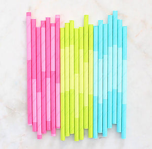 Spring Paper Cocktail Straws: Two Tone | www.bakerspartyshop.com