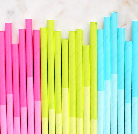 Spring Paper Straws: Two Tone | www.bakerspartyshop.com