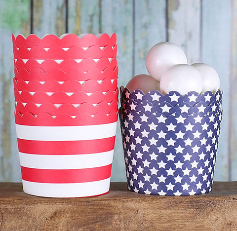Small Patriotic Baking Cups: Stars and Stripes | www.bakerspartyshop.com