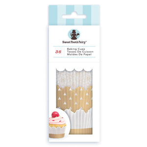 Sweet Tooth Fairy Gold Cupcake Liners | www.bakerspartyshop.com