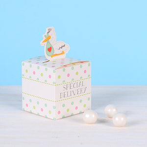 Small Favor Boxes: Stork | www.bakerspartyshop.com
