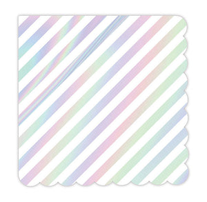 Small Iridescent Napkins: Stripe | www.bakerspartyshop.com