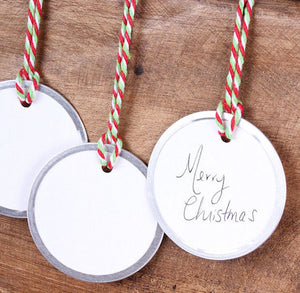 Silver Edge Round Gift Tags: White | www.bakerspartyshop.com