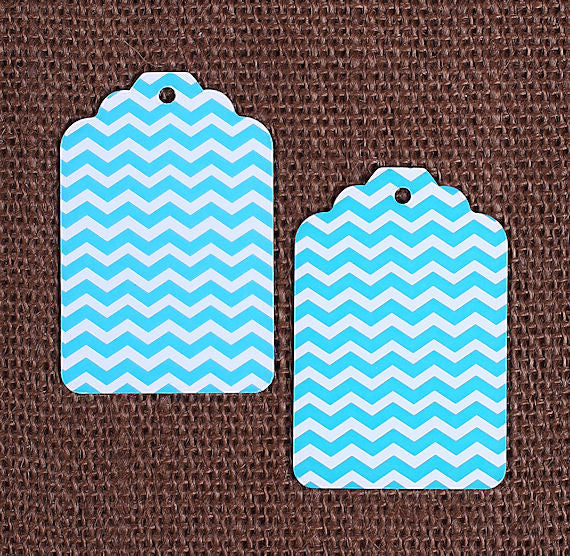Teal Gift Tags: Chevron | www.bakerspartyshop.com