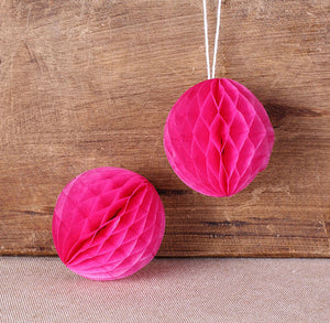 Hot Pink Honeycomb Tissue Balls: 2"