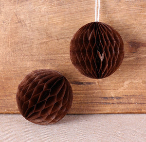 Brown Honeycomb Tissue Balls: 2"