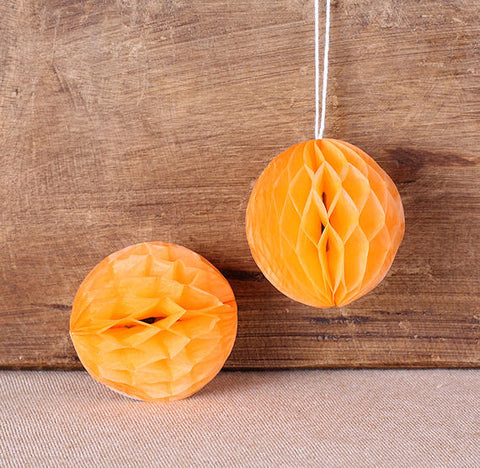 Orange Honeycomb Tissue Balls: 2"