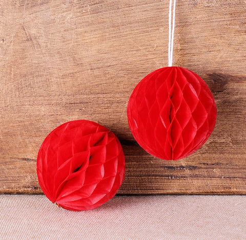 Red Honeycomb Tissue Balls: 2"