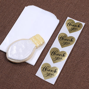 Mini Gold Thank You Favor Bag Kit: Heart | www.bakerspartyshop.com