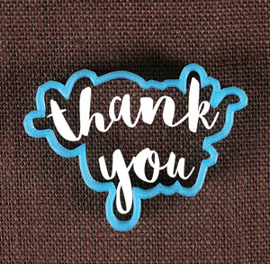 Designer Thank You Cookie Cutter | www.bakerspartyshop.com