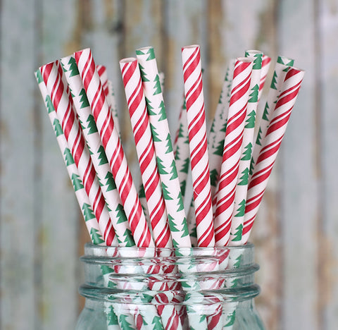 Christmas Paper Straws: Tree | www.bakerspartyshop.com