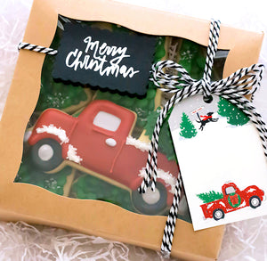 Christmas Cookie Box Kit: Vintage Truck + Tree | www.bakerspartyshop.com