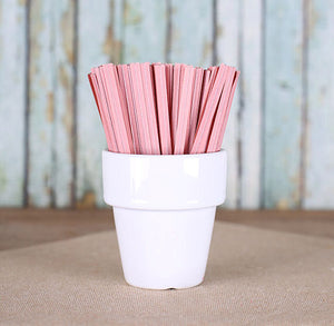 "Light Pink Paper Twist Ties (3.5"") 