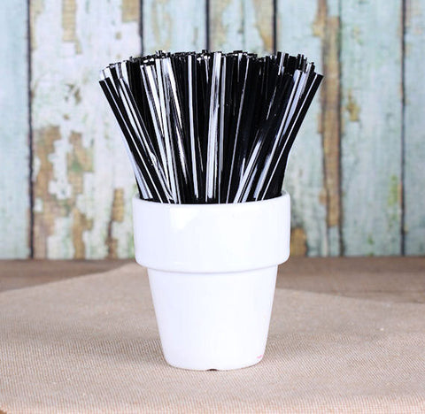 "Metallic Black Twist Ties (4"") 