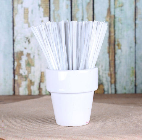 "Metallic White Twist Ties (4"") 