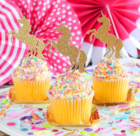 Gold Glitter Unicorn Cupcake Toppers | www.bakerspartyshop.com