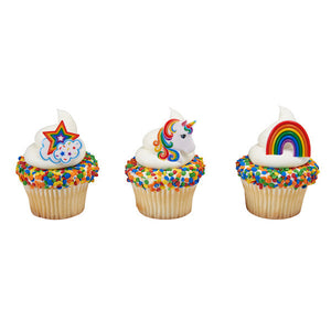 Unicorn Rainbow Cupcake Topper Rings | www.bakerspartyshop.com