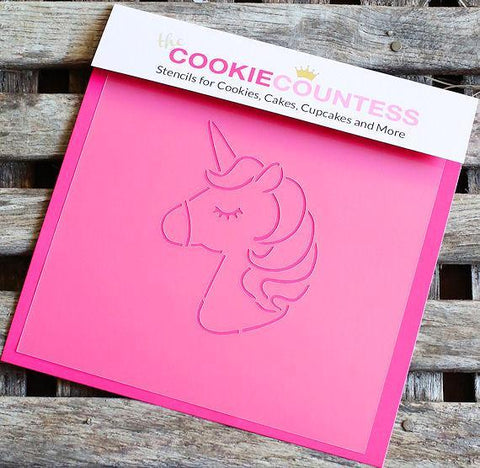 Cartoon Unicorn Cookie Stencil | www.bakerspartyshop.com