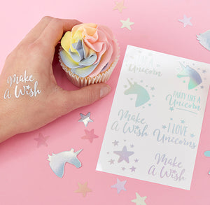 Iridescent Unicorn Temporary Tattoos | www.bakerspartyshop.com