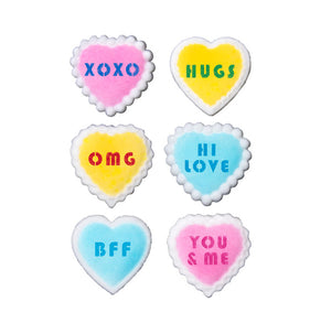 Valentine Message Heart Sugar Toppers | www.bakerspartyshop.com