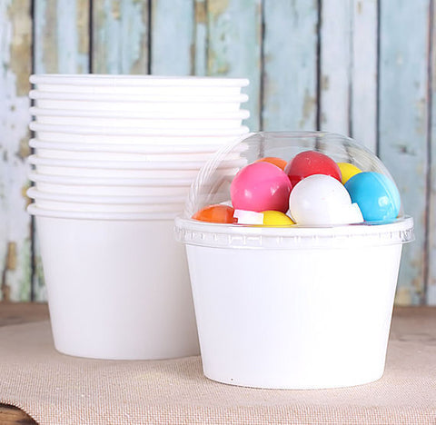 Medium White Ice Cream Cups | www.bakerspartyshop.com
