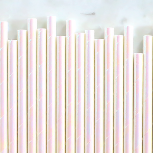 Iridescent White Papers Straws | www.bakerspartyshop.com