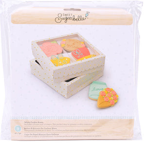 Sweet Sugarbelle Cookie Boxes: Quad White with Dots | www.bakerspartyshop.com