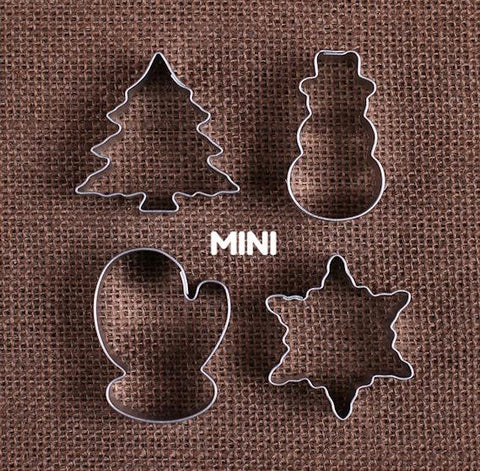 Mini Christmas Cookie Cutters: Snowman, Tree & Mitten | www.bakerspartyshop.com - 1