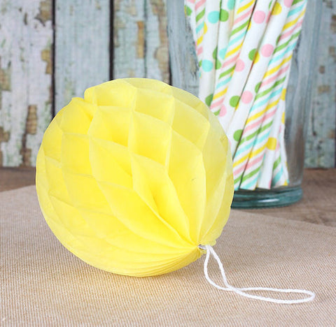 Yellow Honeycomb Tissue Balls: 3"