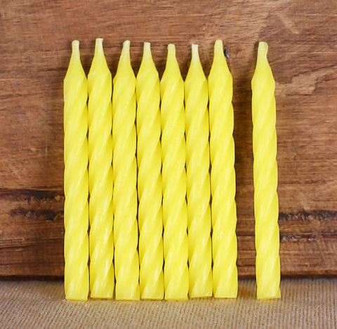 Spiral Yellow Birthday Candles | www.bakerspartyshop.com