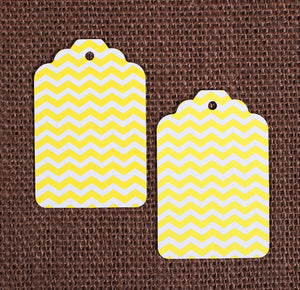 Yellow Gift Tags: Chevron | www.bakerspartyshop.com