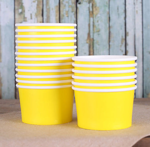 Small Yellow Ice Cream Cups | www.bakerspartyshop.com