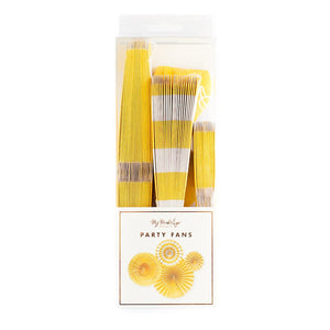 Yellow Party Fans | www.bakerspartyshop.com