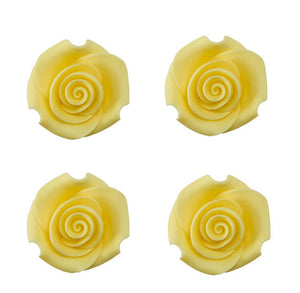 Edible Yellow Fondant Roses: 1.5"